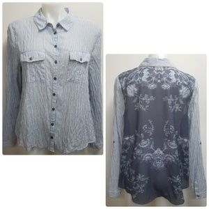 Free People Button Down Striped Floral Top Medium